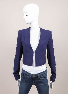 "New With Tags Navy Blue Cropped Long Sleeve ""Coronus"" Suiting Jacket"