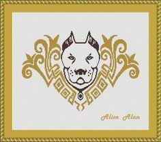 Cross Stitch Pattern vintage dog bulldog bull Terrier