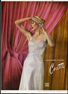 Corette lovely white slip #vintage #lingerie #ad 1946