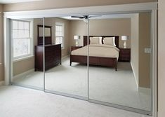 Servicing Chicago since 1972 with custom sliding glass closet doors at factory direct prices. Check out all of our high-quality custom sliding mirror closet doors and set up a free consultation with one of our product knowledge experts! Mirror Closet Doors, Glass Closet, Closet Bedroom, Closet Mirror, Sliding Mirror, Mirror Door, Bifold Closet Doors, Sliding Mirror Closet Doors, Sliding Wardrobe Doors