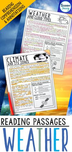 Weather and Climate Worksheets - Reading Comprehension Passages, Questions, and Annotations It contains 6 Engaging, Non-Fiction Reading Comprehension Passages with Directions for Student Annotations! Reading Comprehension Questions also included! Science Resources, Science Lessons, Teaching Science, Teaching Resources, Teaching Ideas, Life Science, Reading Comprehension Passages, Comprehension Questions, Teaching Weather