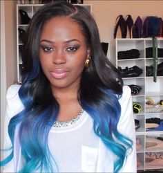 Peakmill's blue ombre hair