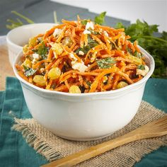 Moroccan Carrot Salad with Spicy Lemon Dressing Moroccan Carrots, Golden Raisins, Carrot Salad, Some Recipe, Large Bowl, Shakespeare, Feta, Spicy, Salads