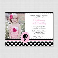 Another invite for Kate's birthday ...Vintage Barbie Inspired Collection Printable by sweetpeachpaperie, $12.95
