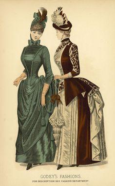 Walking dresses, Godey's Fashion plates 1880s Fashion, Edwardian Fashion, Vintage Fashion, Medieval Fashion, French Fashion, Ladies Fashion, Dress Fashion, Fashion Fashion, Historical Costume