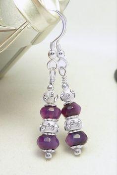 Deep Purple Faceted Agate Gemstone Sterling Crystal Ball Earrings | dianesdangles - Jewelry on ArtFire