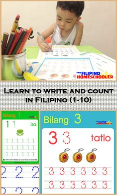 Here are writing worksheets for Filipino numbers. Learn how to count in Filipino and practice writing them, as well. Number Worksheets, Writing Worksheets, Learning To Write, Writing Practice, Grade 1 Reading, Tagalog, Mommy And Me, Filipino, Numbers