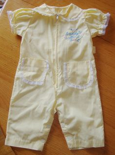 Vintage Lace Baby Girl Ruffle Yellow Romper Jumpsuit Pant 0 3 mos Daddy's Girl | eBay
