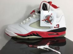 2006 Nike Air Jordan V 5 Retro WHITE FIRE RED BLACK WOLF GREY 136027-162 SZ  10.5