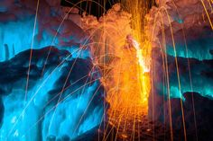 Magical Fire and Ice Castle-13 Utah, Ice Castles, Fire And Ice, Natural Phenomena, Light Painting, Fireworks, Scene, Nature, Azzaro