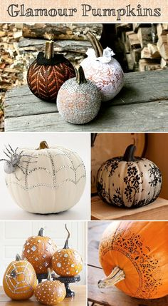 Looking for an elegant way to showcase your pumpkin arrangements? Lace, rhinestones and glitter will do the trick! Stuff a pumpkin in a lace stocking, trim the excess, and tie it off with a rubber band or elastic tie at the stem for the most elegant of pumpkins. For sparkling pumpkins, use a hot glue gun to attach rhinestones or pearls, and adhesive spray to cover them with glitter.