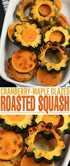 This Roasted Squash with Cranberry-Maple Glaze recipe makes for a perfect autumn side dish. Pair with turkey and all your other fixings for a delicious Thanksgiving feast or serve simply as part of a regular family weekday meal. Pasta Side Dishes, Side Dishes For Bbq, Holiday Side Dishes, Vegetable Side Dishes, Main Dishes, Side Dish Recipes, Vegetable Recipes, Fall Recipes, Dinner Recipes