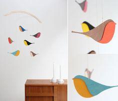 snug birds mobile  via beandseecreative blog