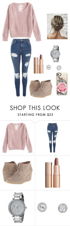 """Untitled #219"" by britney-pitts ❤ liked on Polyvore featuring Topshop, TOMS, Charlotte Tilbury, Michael Kors and Casetify"