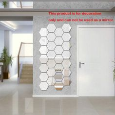 x Hexagonal mirror stickers living room bedroom and bathroom mirror wall stickers home decor 3d Mirror Wall Stickers, Room Stickers, Mirror Wall Art, Mirror Tiles, Diy Mirror, Wall Decals, Mirror Decal, Mural Wall, Mirrors For Bedroom Wall