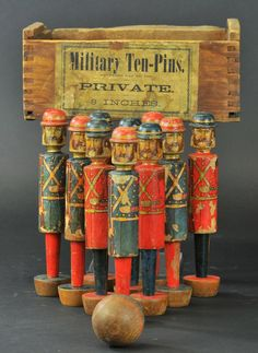 Antique - Military Ten Pins - toy