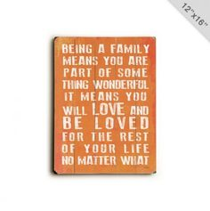 Being A Family.