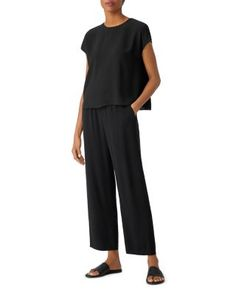 New Wardrobe, Eileen Fisher, Cropped Pants, Black Tops, Crew Neck, Pullover, Silk, Sewing, My Style