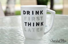 Stenciled Coffee Cup Quote Tutorial - cherishedbliss.com #plaid #marthastewart #marthaglass
