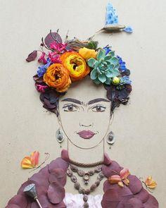 """Mama Bird Frida"" Flower Print Frida Kahlo Art | Frida Kahlo Portrait | Frida Kahlo Gifts | Art for gallery wall | Unique Art"