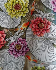 Their spectacular colors and patterns are part of the reason that koi fish are loved today and treasured by their owners. Colors of a koi fish should be bright. Koi Fish Pond, Fish Ponds, Pond Drawing, Colorful Flowers, Flower Colors, Water Pond, Colored Pencil Techniques, Fish Drawings, Chalk Art