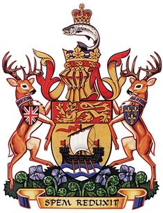 The original coat of arms of New Brunswick, Canada, was granted to New Brunswick by a Royal Warrant of Queen Victoria on 26 May provincial flag is a banner of the arms. New Brunswick Canada, Canadian History, Family Crest, Crests, Coat Of Arms, Ancestry, Badge, Images, True North