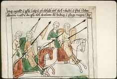 Navarre Picture Bible Pamplona, Spain, 1197AD  Although the stories portrayed in the illustrations are ancient, the figures wear 12th century Navarrese costume. The army riding in the battle against Absalom