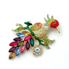 "BIG 4"" Colorful Crystal Bird Brooch Pin Fashion Jewerly PammyJ Brooch Pin. $23.99. GORGEOUS FOR GIFTS. SPARKLING RHINESTONES. PERFECT FOR BIRD LOVERS. COMES IN FOIL GIFT BOX. NICKEL AND LEAD FREE. Save 37%!"