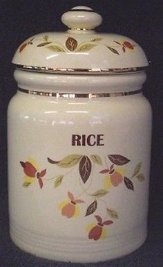 Hall AUTUMN LEAF Jewel Tea - RICE Jar Canister - NEW