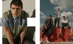 Left: Holden wears shirt 3.1 Phillip Lim and pants Marni. Right (Pictured Left to Right): Holden wears coat COS, jacket Peter Millar from Nordstrom, jeans R13 from Traffic (The Joule), socks American Apparel, and shoes Tretorn. Dylan wears denim jacket R13 from Traffic at The Joule, tee stylist's own, trousers Marni, and shoes Aesics. Brad wears sweater Norse Projects from East Dane, shoes Dr Martens, shirt and shorts Thom Browne from Traffic at The Joule.