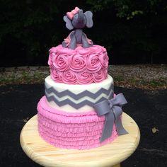 Elephant Baby shower cake. Vanilla cake with cheesecake/strawberry jam filling, butter cream, modeling chocolate chevrons / elephant.