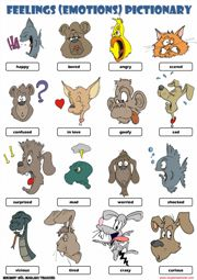 Picture dictionary: feelings - animals. You could cut this up and play a memory game too.