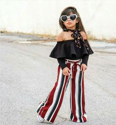 Kids Girls' Street chic Striped Lace up Long Sleeve Cotton Clothing Set Black Off Shoulder Tops, Black Off Shoulder, Jean Moda, Cheap Girls Clothes, Bell Bottom Pants, Bell Bottoms, Long Blouse, Black Blouse, Street Chic