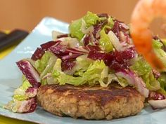Salmon Burgers with Caesar Slaw from FoodNetwork.com