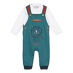 RJR.John Rocha - Baby boys' green striped dungarees and white bodysuit set