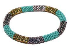 Glass Bracelet Nepal Bracelet Roll on Bracelet Crochet Bracelet Glass Bead Bracelet Friendship Bracelet 344