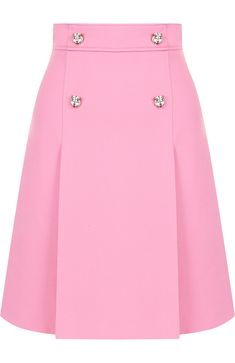 GUCCI Womens Pink Plain Mini-Skirt from a Mixture of Wool and Silk - Buy for 77600 rub. in the TsUM online store, art. Blouse And Skirt, Dress Skirt, Silk Skirt, African Fashion, Korean Fashion, African Dress, Mode Style, Skirt Outfits, Classy Outfits