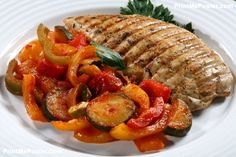 Poster of Grilled turkey fillet with vegetables , Food Posters, Photo Grill, Grilled Turkey, Ratatouille, Grilling, Food Posters, Breast, Mousepad, Chicken, Vegetables