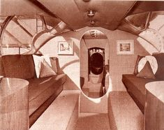 The Kendalls' hired noted interior designer George Erb A.I.D. of Barker Bros. to convert the surplus war planes into a set of flying and floating luxury suites.