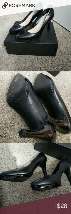 Tahari black heels pumps size 8 EUC worn once.  Black leather with patent heel.  4 in heels.  No flaws.  Like new.  TA-Gallery style 115373 Tahari Shoes Heels