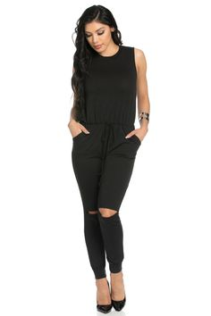 Knee Cutout Black Jumpsuit