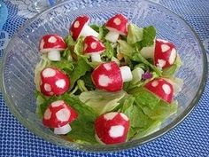 Toadstool salad. Idea: Place a toothpick in them and stick it on a cucumber with other flower shapes
