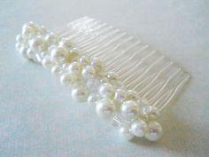 White Pearl Hair Comb, Large Pearl Hair Comb, Wedding Pearl Hair Comb, Bridal Pearl Hair Comb, Weddings, Hair, Bridesmaids, Hair Accessories. $22.00, via Etsy.