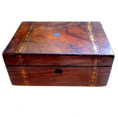 Antique Vintage Wood Inlay Tea Caddy Box