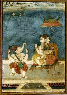 Ganesha with Shiva/Parvati. Present Location: Varanasi, Bharat Kala Bhavan Museum. Location: Bikaner, Bikaner District, Rajasthan, India. Date: ca 1700-1730 CE
