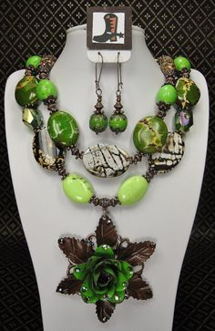 Green Chunky Cowgirl Necklace Set with by CayaCowgirlCreations, $60.00