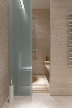 modern simplicity; sliding frosted glass panels; strong vertical lines - Lipki apartment by Nikita Borisenko