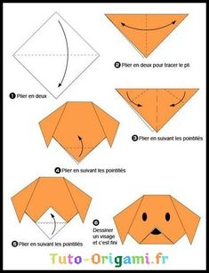 Easy Origami For Kids.: Dog(face) Easy Origami For Kids. Origami 3d, Chat Origami, Origami Modular, Origami Ball, Origami Dragon, Origami Bookmark, Useful Origami, Origami Design, Origami Ideas