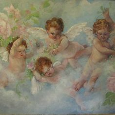 OIL PAINTING ANGELS CHERUBS ORIGINAL/REPRODUCTION COMBINED BARNES LARGE SHABBY