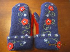 Royal Blue and Red Embroidered Felted Wool Mittens by MittenMomma, $20.00